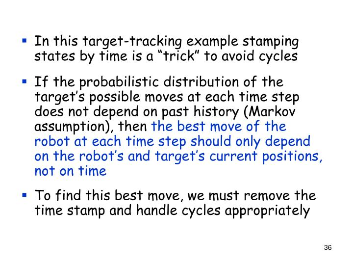 """In this target-tracking example stamping states by time is a """"trick"""" to avoid cycles"""