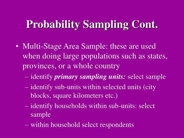 Probability Sampling Cont.