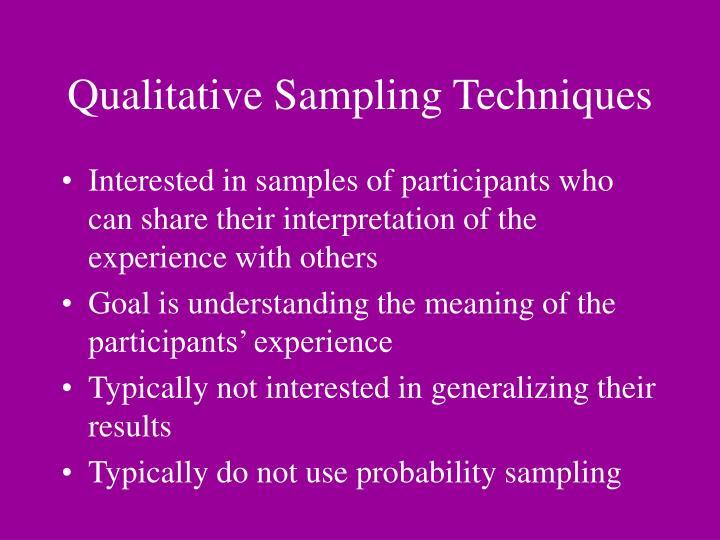 Qualitative Sampling Techniques