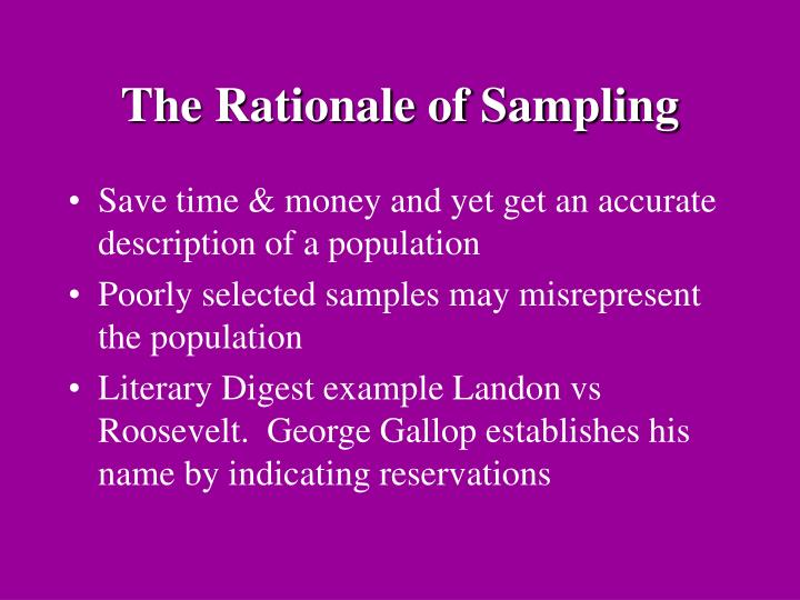 The Rationale of Sampling