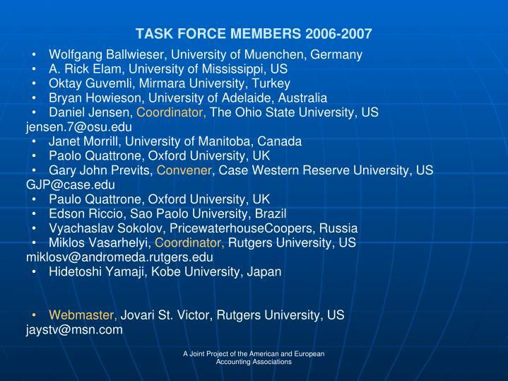 TASK FORCE MEMBERS 2006-2007
