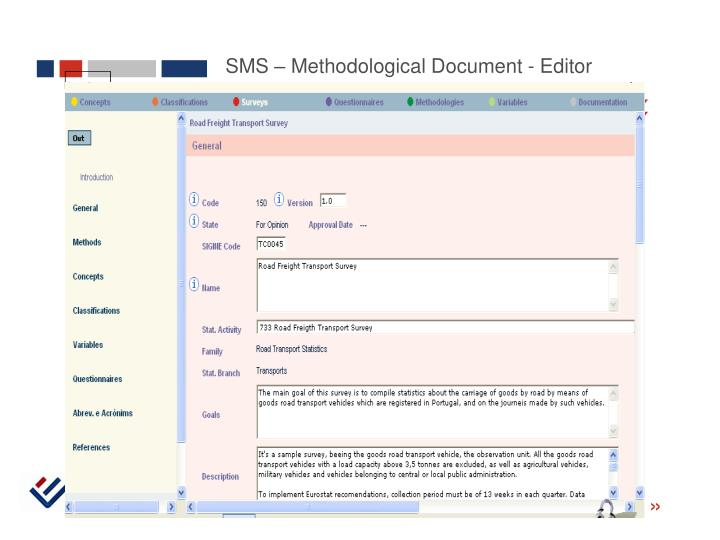 SMS – Methodological Document - Editor