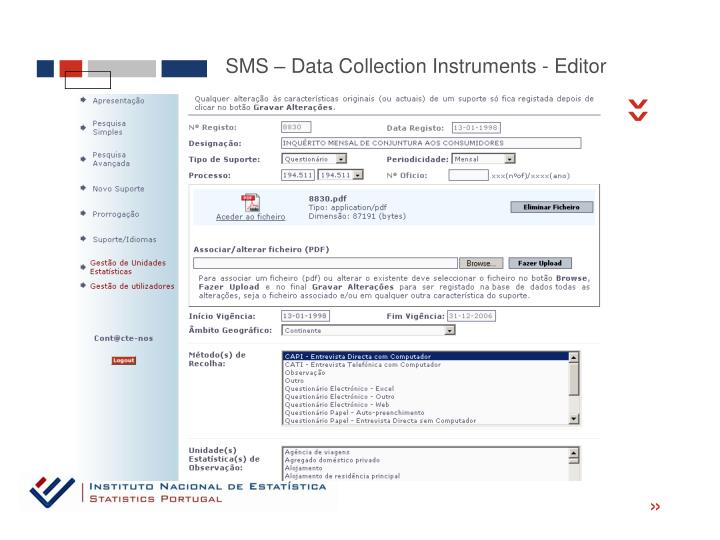 SMS – Data Collection Instruments - Editor