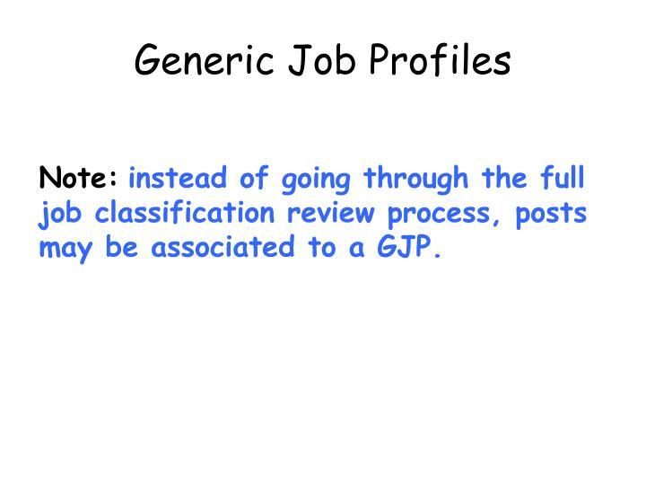 Generic Job Profiles
