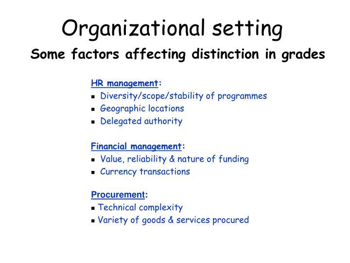 Organizational setting