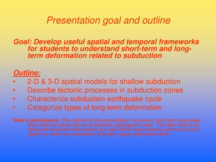 Presentation goal and outline