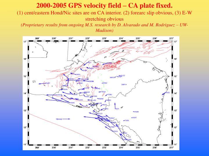 2000-2005 GPS velocity field – CA plate fixed.