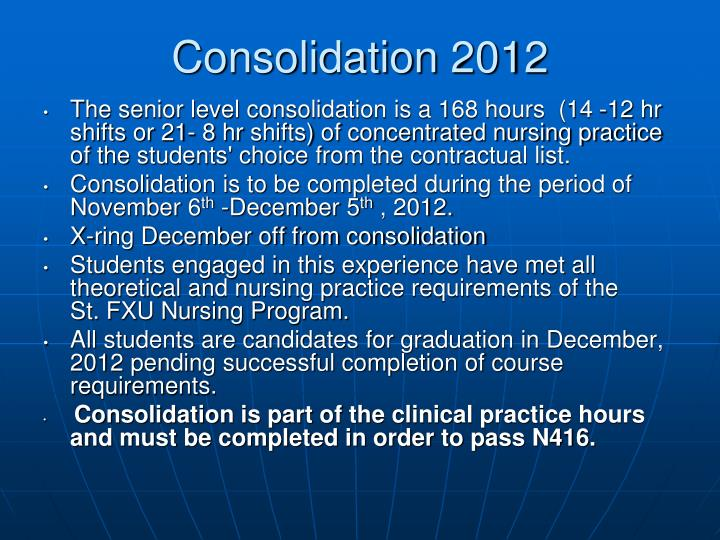 Consolidation 2012