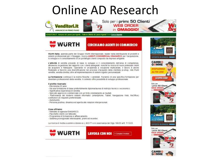 Online AD Research