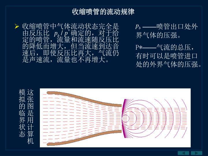 收缩喷管中气体流动状态完全是由反压比
