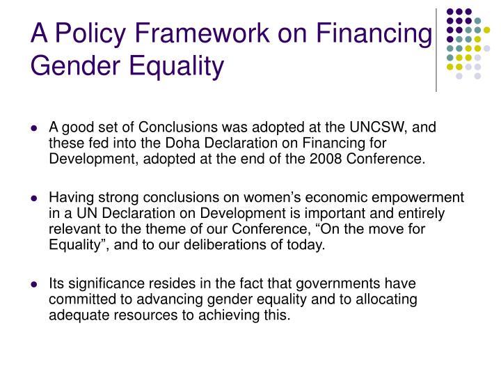 A Policy Framework on Financing Gender Equality