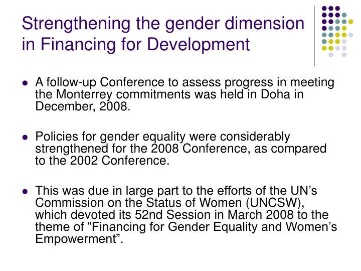 Strengthening the gender dimension in Financing for Development