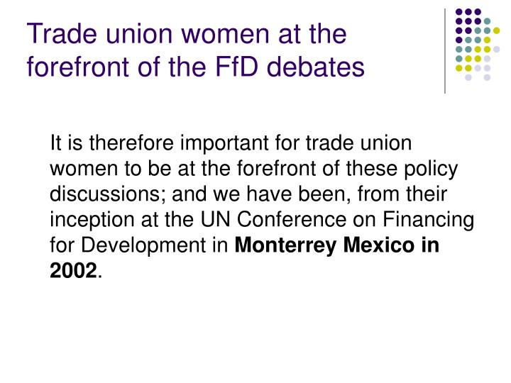 Trade union women at the forefront of the FfD debates