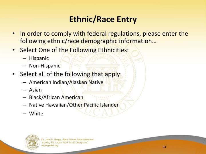 Ethnic/Race Entry