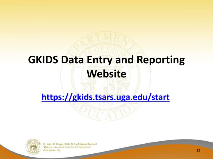 GKIDS Data Entry and Reporting Website