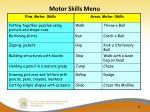 motor skills menu