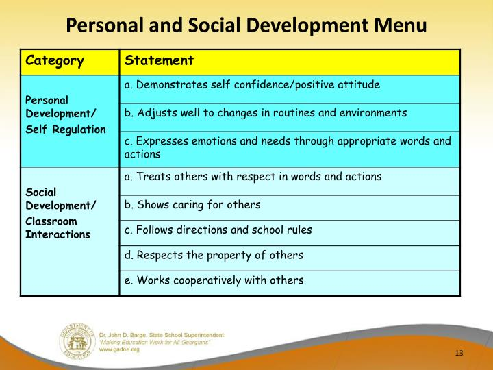 Personal and Social Development Menu