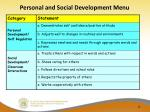 personal and social development menu