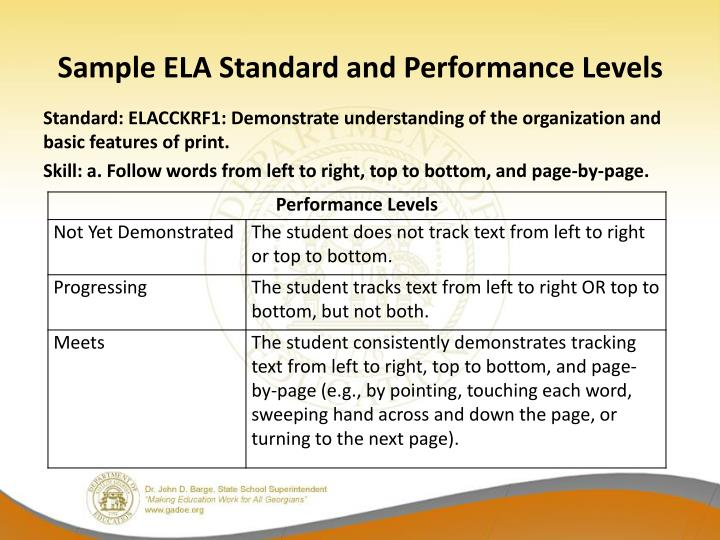 Sample ELA Standard and Performance Levels
