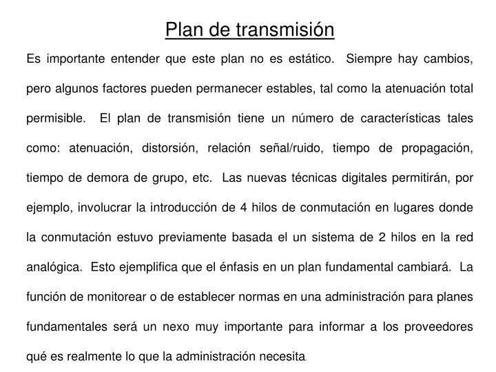Plan de transmisión