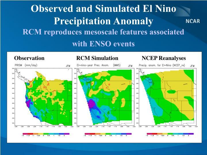 Observed and Simulated El Nino Precipitation Anomaly