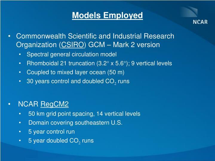 Models Employed