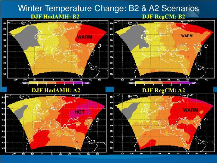 Winter Temperature Change: B2 & A2 Scenarios
