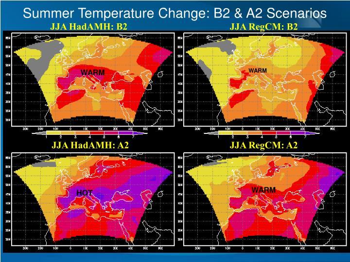 Summer Temperature Change: B2 & A2 Scenarios