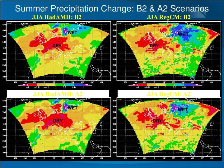 Summer Precipitation Change: B2 & A2 Scenarios