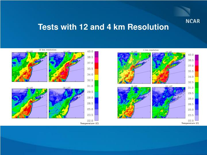 Tests with 12 and 4 km Resolution