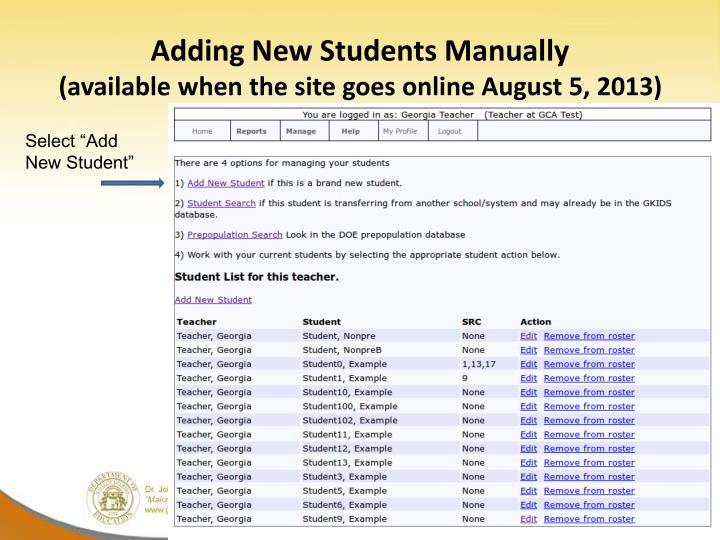 Adding New Students Manually