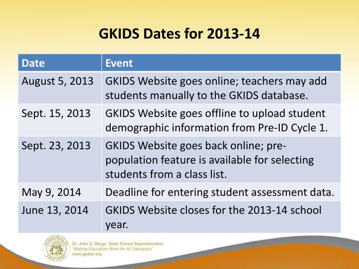GKIDS Dates for 2013-14