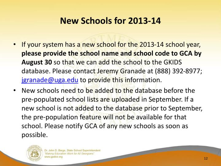 New Schools for 2013-14