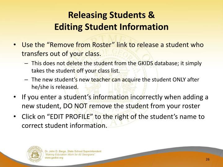 Releasing Students &