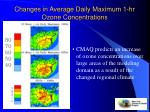 changes in average daily maximum 1 hr ozone concentrations