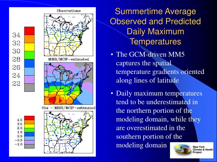Summertime Average Observed and Predicted Daily Maximum Temperatures
