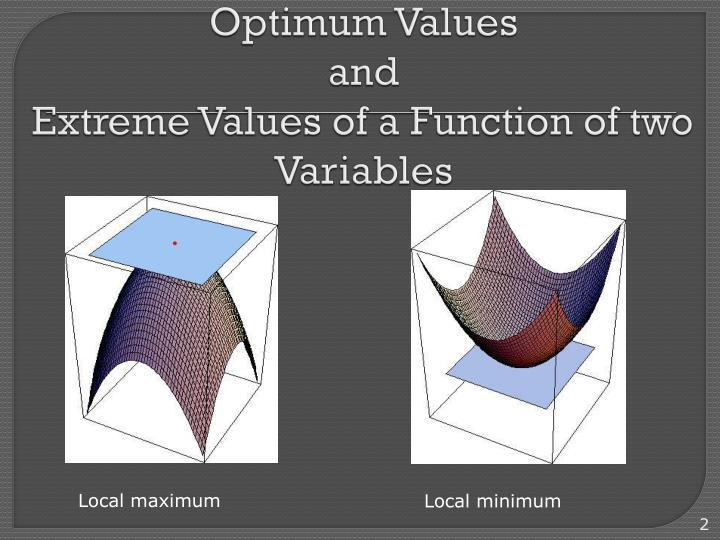Optimum values and extreme values of a function of two variables
