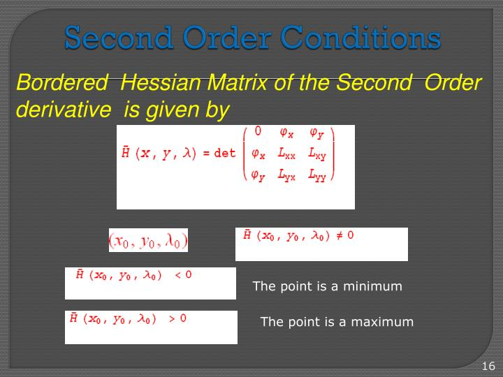 Second Order Conditions