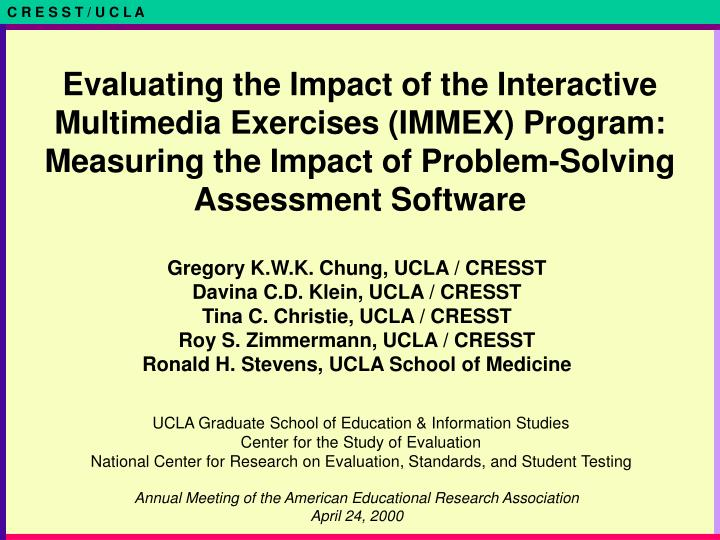 Evaluating the Impact of the Interactive Multimedia Exercises (IMMEX) Program: Measuring the Impact of Problem-Solving Assessment Software