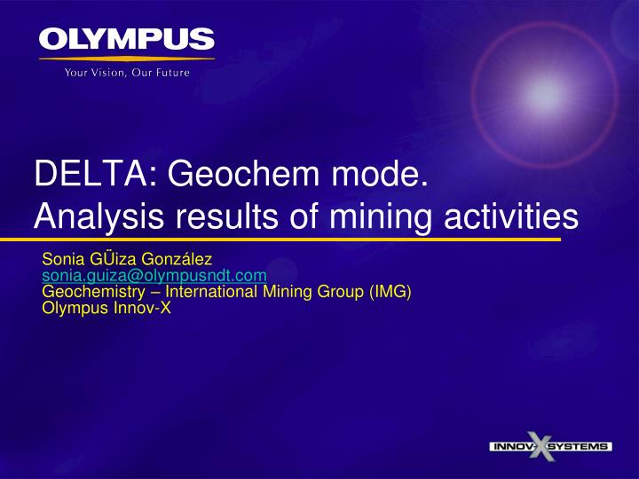 Delta geochem mode analysis results of mining activities