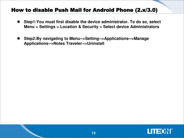 How to disable Push Mail for Android Phone (2.x/3.0)