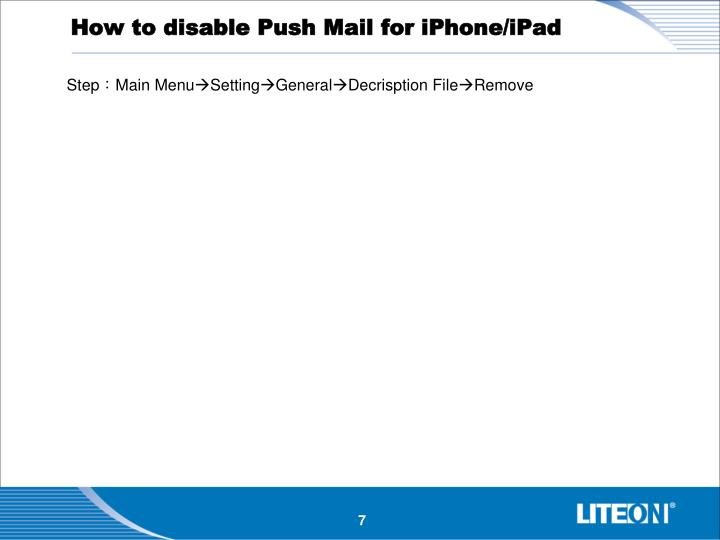 How to disable Push Mail for iPhone/iPad