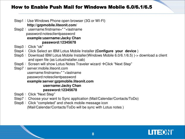How to Enable Push Mail for Windows Mobile 6.0/6.1/6.5