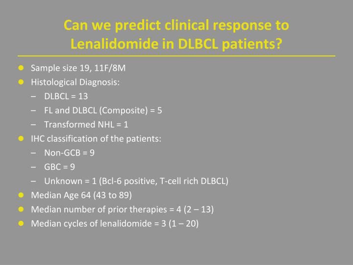 Can we predict clinical response to Lenalidomide in DLBCL patients?
