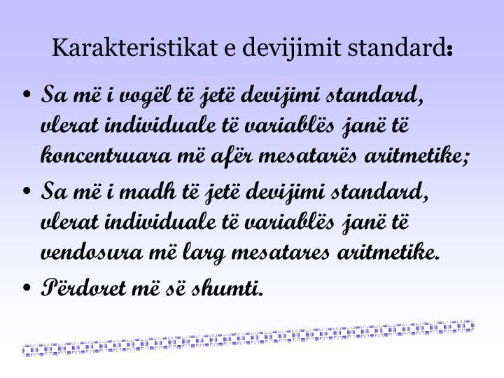 Karakteristikat e devijimit standard