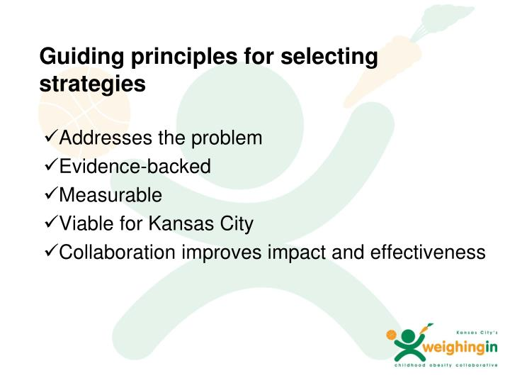Guiding principles for selecting strategies