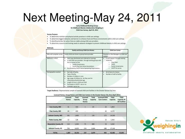 Next Meeting-May 24, 2011