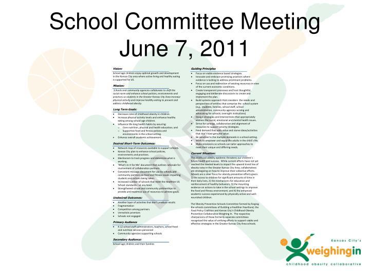 School Committee Meeting June 7, 2011