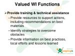 valued wi functions