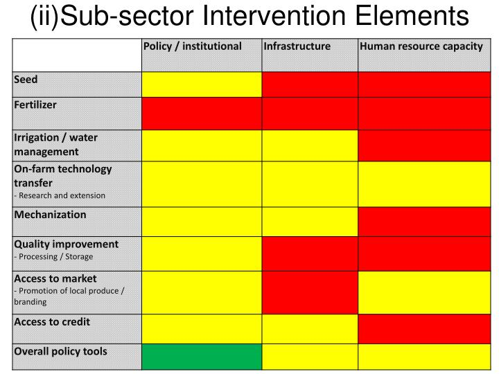 (ii)Sub-sector Intervention Elements